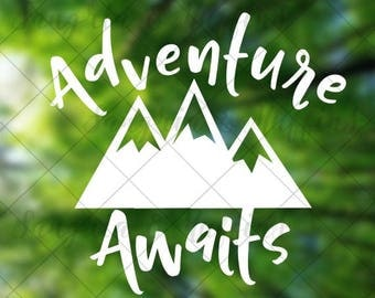Adventure Awaits with plain mountains - Car decal - Window decal - Laptop decal - Tablet decal - travel - hiking