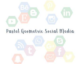 Pastel social media icon, facebook, instagram, twitter, blog, digital,
