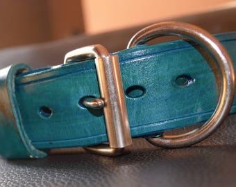 Turquoise Leather K9 Dog Collar