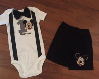 Mickey Personalized Embroidered First birthday, Boys birthday outfit, Baby boy first birthday, Mickey party