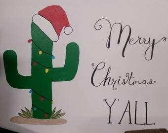 Merry Christmas Y'all Cactus