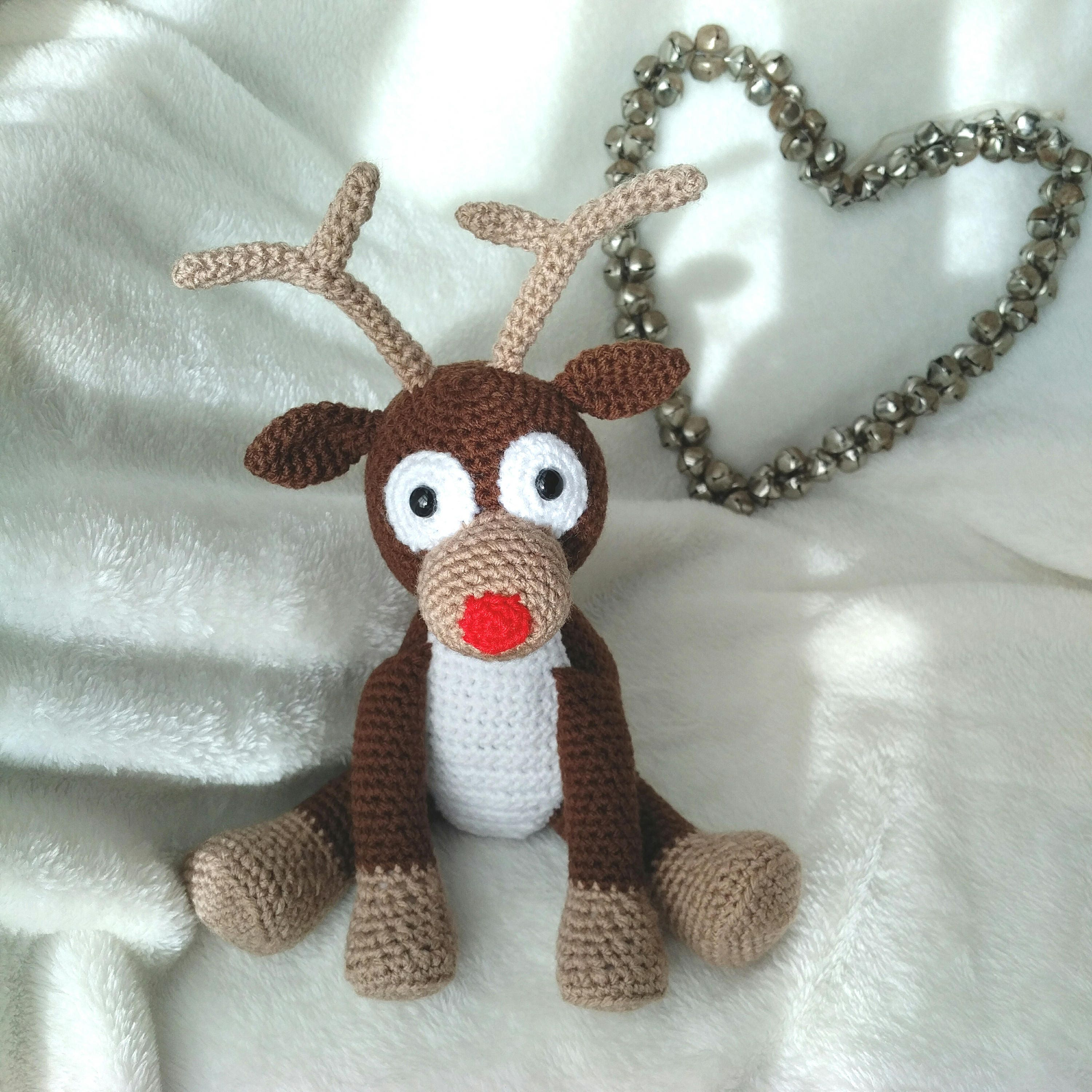 Hard Copy Reindeer Crochet Pattern, Rudolph the Red Nosed Reindeer ...