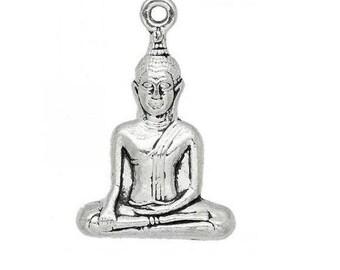 large Silver 3.5 cm (E49) 3D Buddha charm