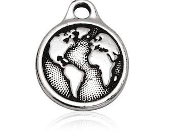 charm medal earth globe world Silver (B12)
