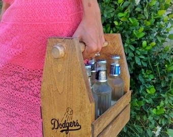 Personalized engraved handmade beer carrier with bottle cap opener
