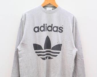 Vintage ADIDAS Trefoil Big Logo Sportswear Gray Sweater Sweatshirt Size XXXL