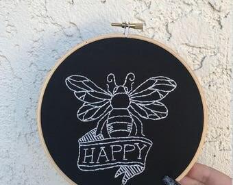 Bee Happy Embroidery Hoop