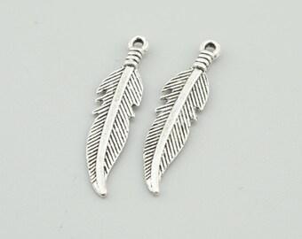 100pcs 27x7mm Antique Silver Feather Charm Pendants,Feather Connectors Z2515