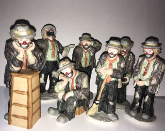 Emmett Kelly Jr. by Flambro Collection of 7 hobo clown figurines