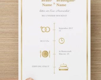 Individual wedding card cards in white