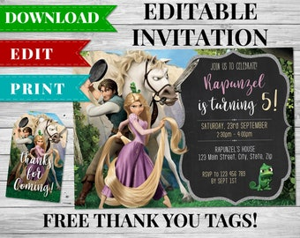 Rapunzel Invitation, Tangled Invitation, Rapunzel Birthday Party, Tangled Birthday Party, Rapunzel Thank You Tags, Tangled Thank You Cards