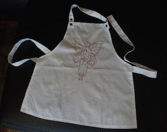 handmade Purple Fairy embroidered apron
