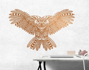 Detailed GEOMETRIC LINE OWL Removable Vinyl Wall Decal Extra Large Bird Nature
