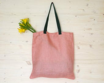 Pink Linen Bag, Eco Bag, Pink Tote Bag, Tote Bag, Canvas Bag, Linen Tote, Reusable Bag, Reusable Tote, Eco Friendly Bag, Shoulder Tote Bag