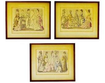 Antique Victorian Fashion 1870's Godey's Fashion Prints - Set of 3