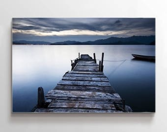 Large Wall Art Wooden Pier on Lake with Mountains Far Landscape Canvas Print