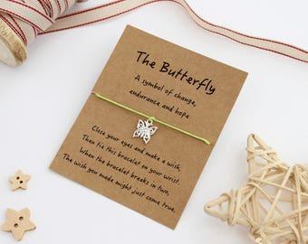 Butterfly Wish Bracelet, Butterfly Jewellery, Butterfly Charm Bracelet, Butterfly Gift, Butterfly Keepsake Card, Friendship Bracelet