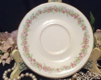 Limoges France Avenir Tea Saucer Pink Roses on the Vine with Lavender Ribbon