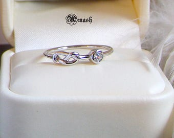 Genuine 925 silver Love Knot ring,Infinity dainty ring,stacking delicate ring,Promise Minimalist Dainty Stackable jewellery,handmade band