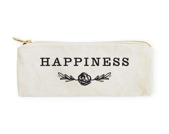 Cotton Canvas Happiness Pencil Case and Travel Pouch for Back to School, Supplies, Cute Teen Gift, Zipper Pouch, DIY, Makeup Bag, Stationery