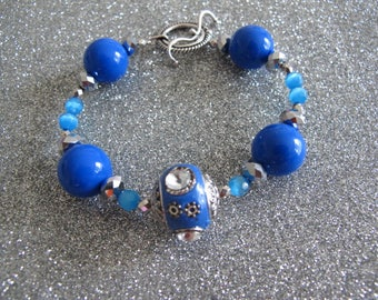 "Blue Indonesian Clay Bead with Resin, Glass & Crystal - 8"" Bracelet - Beach Bracelet"
