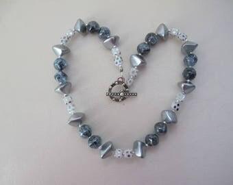 """Silver Streak Necklace - Czech Glass, Czech Crystal, Vintage Crackle Glass Beads - 16"""""""