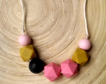 Pink and pistachio green necklace, teething necklace,, casual necklace