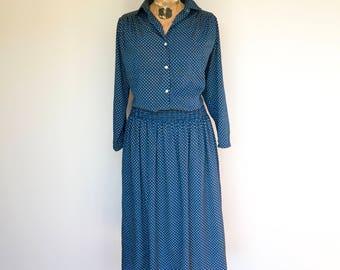 Blue Vintage Dress, 1970s Vintage Dress, Elastic Waistband, True Vintage, NZ Vintage, Blue Dress, 1970s Dress, New Zealand, Vintage Clothing