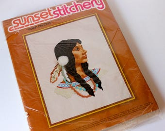 Sunset Stitchery Kit Indian Princess, Vintage Unused Large Sunset Stitchery Kit, Indian, Vintage 70s Stitchery