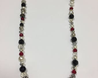 Black red and silver Necklace