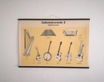 Both sided Vintage school wall chart, musical instruments, string instruments, Paul Sappl 1969, Austria