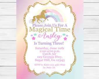 SALE Personalized 5x7 Unicorn Invitation, Unicorn Party Invitation, Rainbow Birthday Invitation,Unicorn Birthday, Unicorn Invite