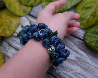 Clay berry bracelet, Blueberry fimo bracelet, Polymer clay berries, Handmade berries bracelet, berry, gift idea, beautiful jewelry.
