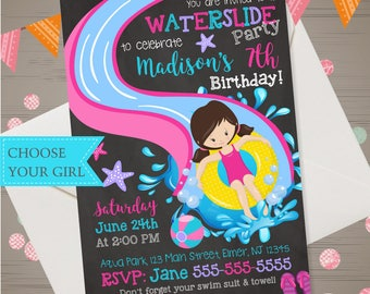 WATER SLIDE Invitation Girls Water Slide Birthday Invitation Waterslide Birthday Waterslide Invitation Backyard Summer Pool Party Water Park
