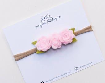 Peony Pink | Baby felt flower crown, newborn flower crown, newborn photo prop, flower headband, felt flower headband, vintage flower crown