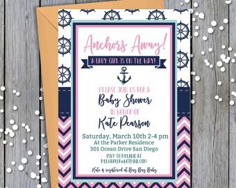 Anchors Away Nautical Baby Girl printable baby shower invitation//Printable baby shower invitation//Baby girl shower invite