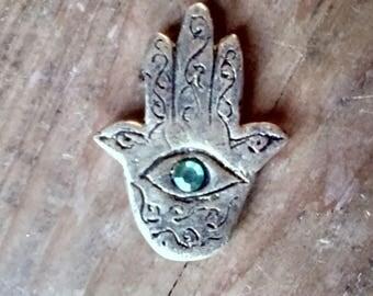 Unique Fridge magnet , gold Hand of Fatima magnet with green gemstone eye.