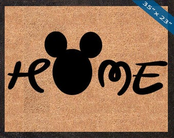 Home, Mickey Mouse Silhouette! Custom Disney DoorMats, Great for a Wedding, Anniversary, Birthdays, Housewarming, or Graduation Present!