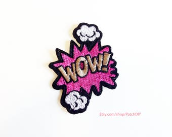 Patch WOW comic book pop art Iron On Embroidered Applique girly style Andy Warhol costume explosion DIY cartoon bubble cloud pink white