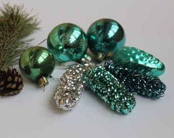 Beautiful green cones, green balls, Christmas Tree toys,Collectible USSR Glass Toys,Glass Christmas decorations,Christmas ornaments 30