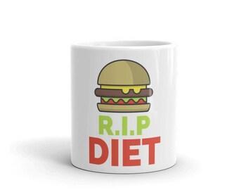 RIP Diet Funny Food Gift Idea Burger Mug