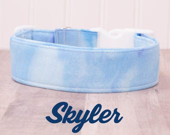 """Blue and White Cloudy Marbled Watercolor Dog Collar """"Skyler"""" SMALL"""