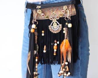 Festival belt bag hip bag, Festival boho fringe bag,  hippie belt bag, hippie fringe fanny pack, boho belt pouch, boho hippie belt-pack