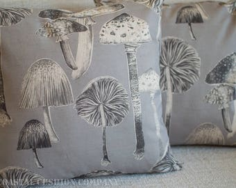 "Toadstool Cushion Cover. Handmade vintage style fairytale woodland toadstools in grey. 17"" x 17"" Square cushion cover, linen blend fabric."