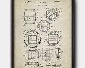 Whiskey Barrell · Patent · Instant Download · Brewery · Printable · Liquor · Bart art #167