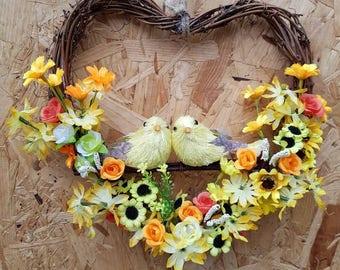Spring wreath, floral wreath, heart, flowers, bird wreath, wall decor, door wreath, rustic decor, country decor, birds and flowers,