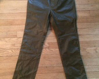 20% SALE FREE SHIPPING !!!! Vintage Olive Leather Pants
