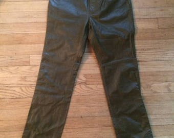 Vinatge Olive Leather Pants