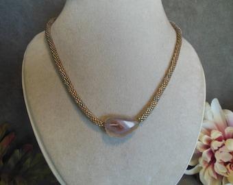 Golden Color Geode Slice Necklace