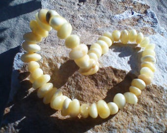 "Set Baltic Amber Royal White Butterscotch Lithuania 18"" Necklace and Adjustable Bracelet"